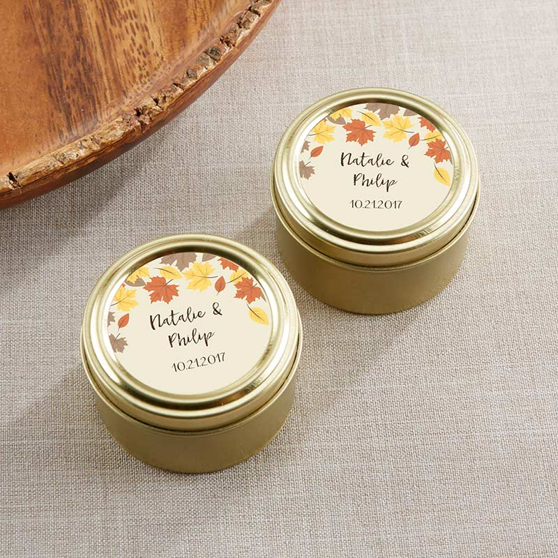 Personalized Gold Round Candy Tin - Fall Leaves (Set of 12)