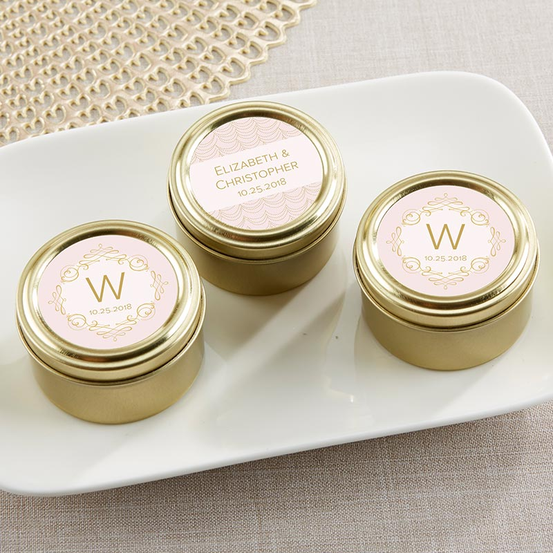 Personalized Gold Round Candy Tin - Modern Romance (Set of 12)