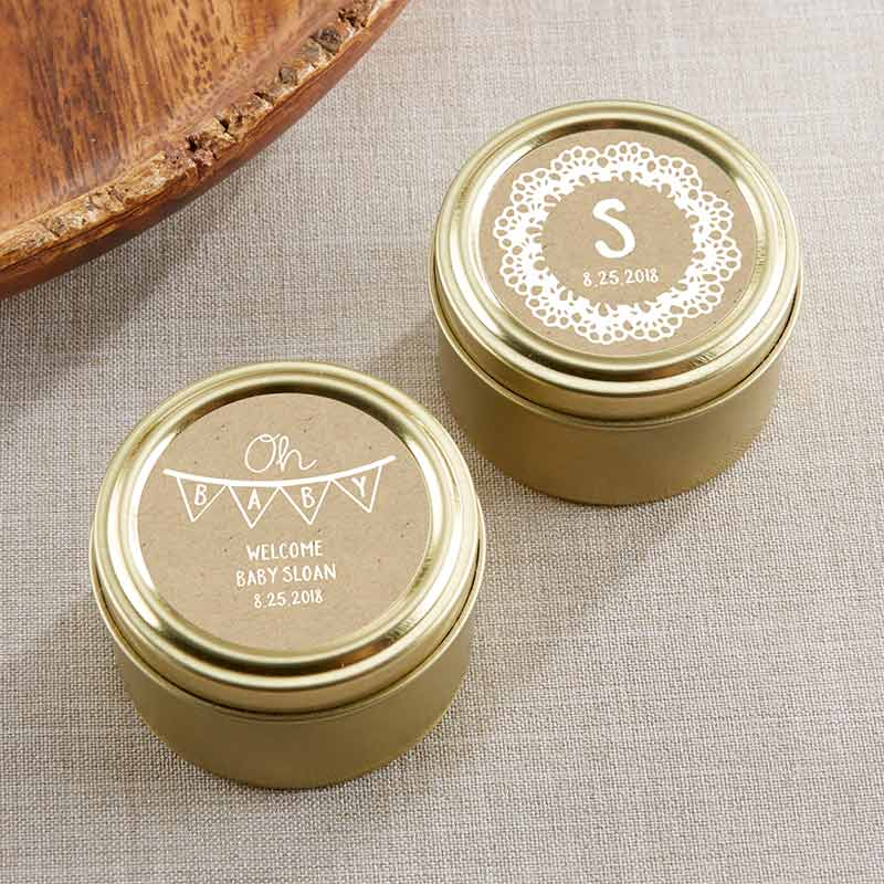 Personalized Gold Round Candy Tin - Rustic Charm Baby Shower (Set of 12)