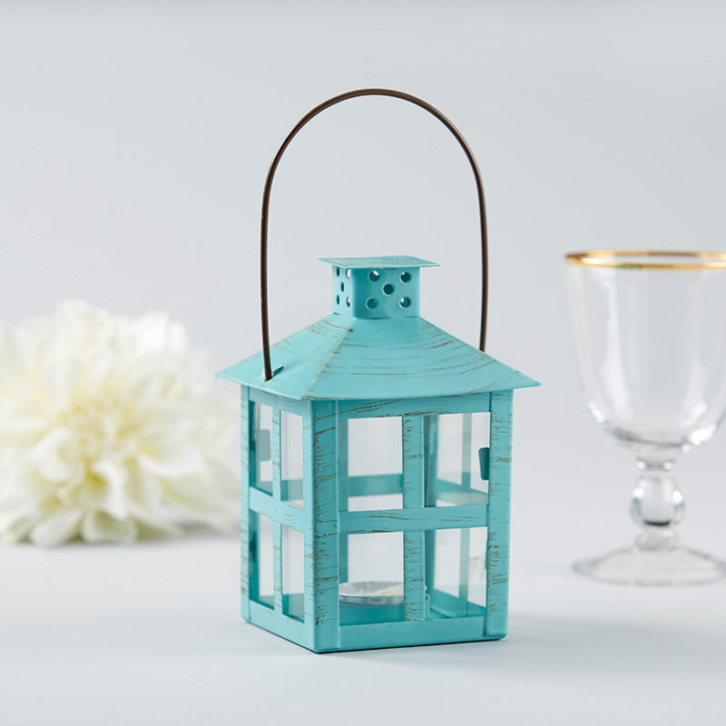 Vintage Blue Distressed Lantern - Medium