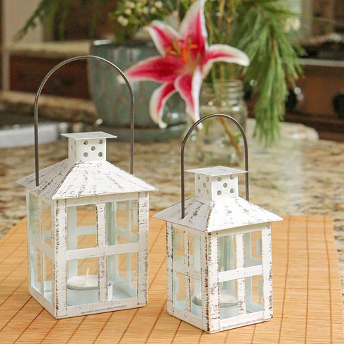 Vintage White Distressed Lantern - Medium