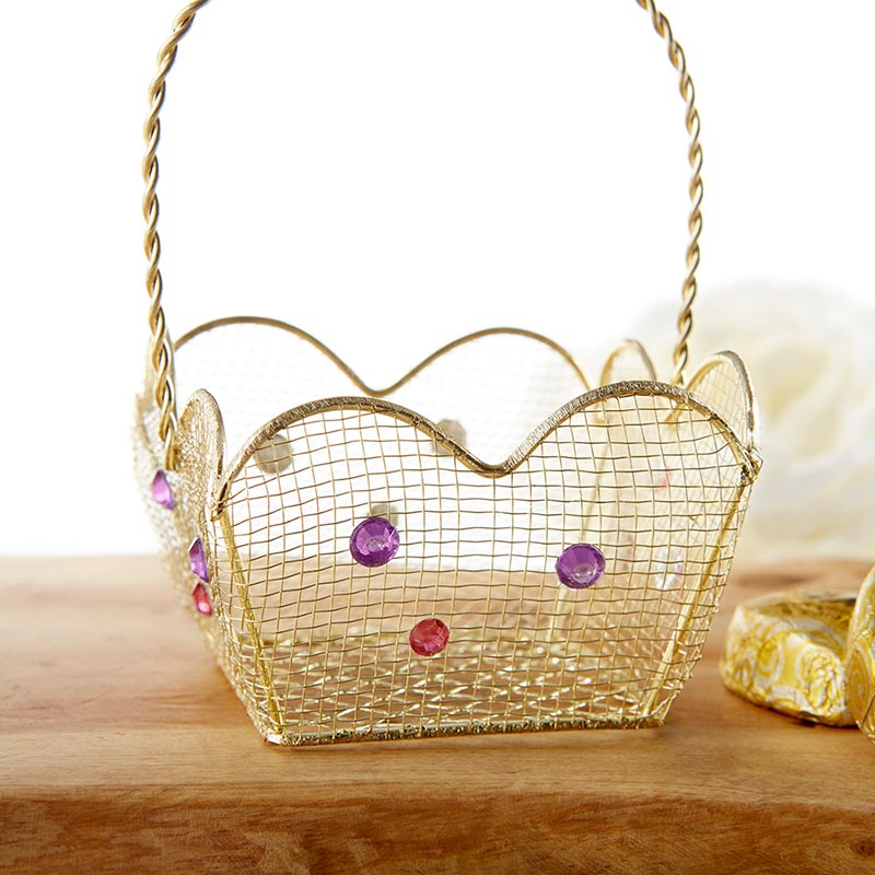 Load image into Gallery viewer, Indian Jewel Gold Wire Favor Basket with Jewel Details (Set of 6)