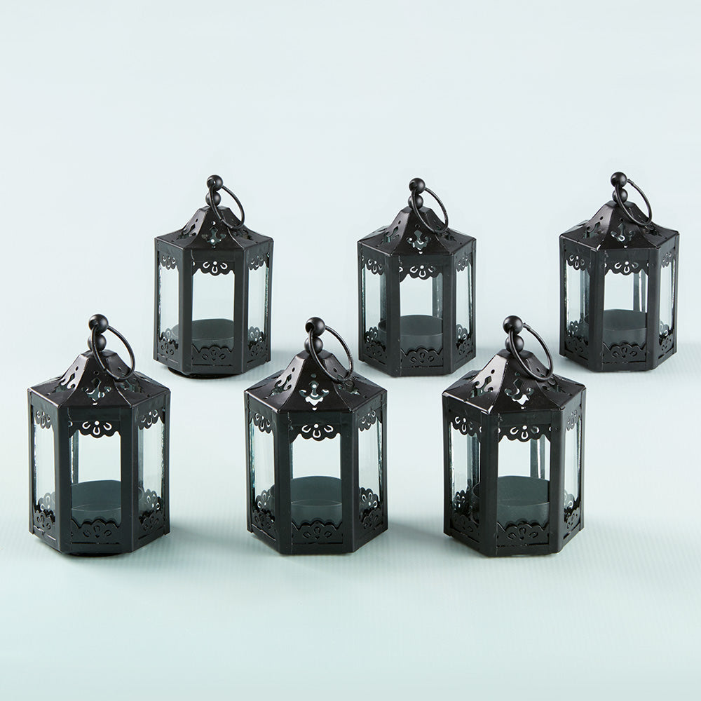 Load image into Gallery viewer, Black Hexagon Mini Lantern (Set of 6)