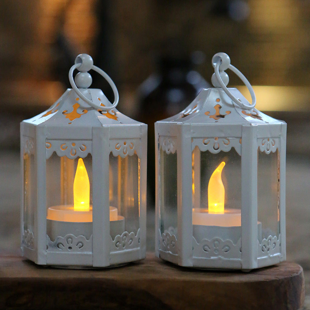 Load image into Gallery viewer, White Hexagon Mini Lantern (Set of 6)