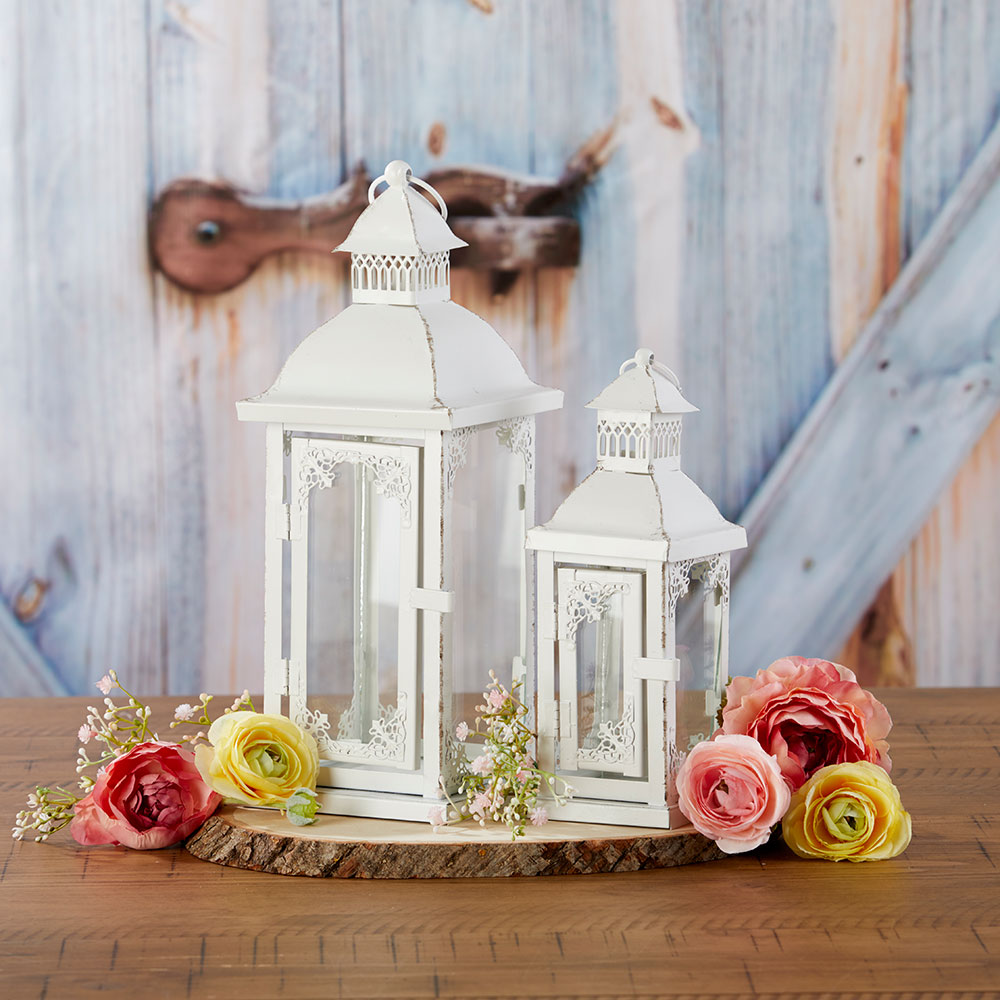 Antique White Ornate Lantern - Small