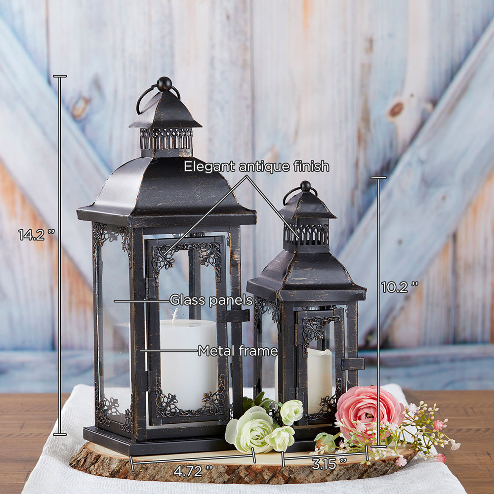 Antique Black Ornate Lantern - Medium