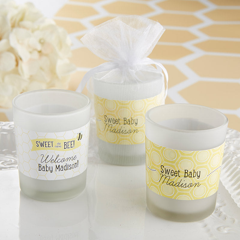 Personalized Frosted Glass Votive-Kate's Sweet as Can Bee Collection