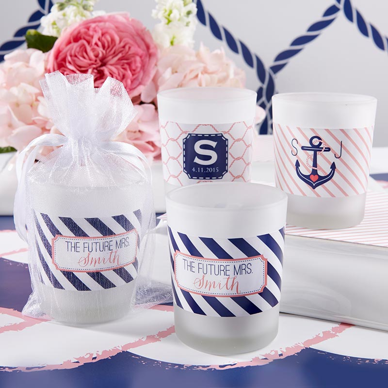 Personalized Frosted Glass Votive - Kate's Nautical Bridal Shower Collection