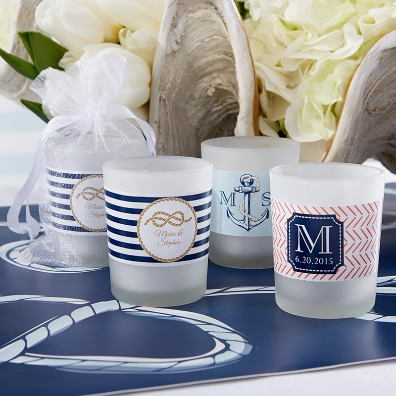 Personalized Frosted Glass Votive - Kate's Nautical Wedding Collection
