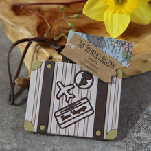 Load image into Gallery viewer, Let the Journey Begin Vintage Suitcase Luggage Tag