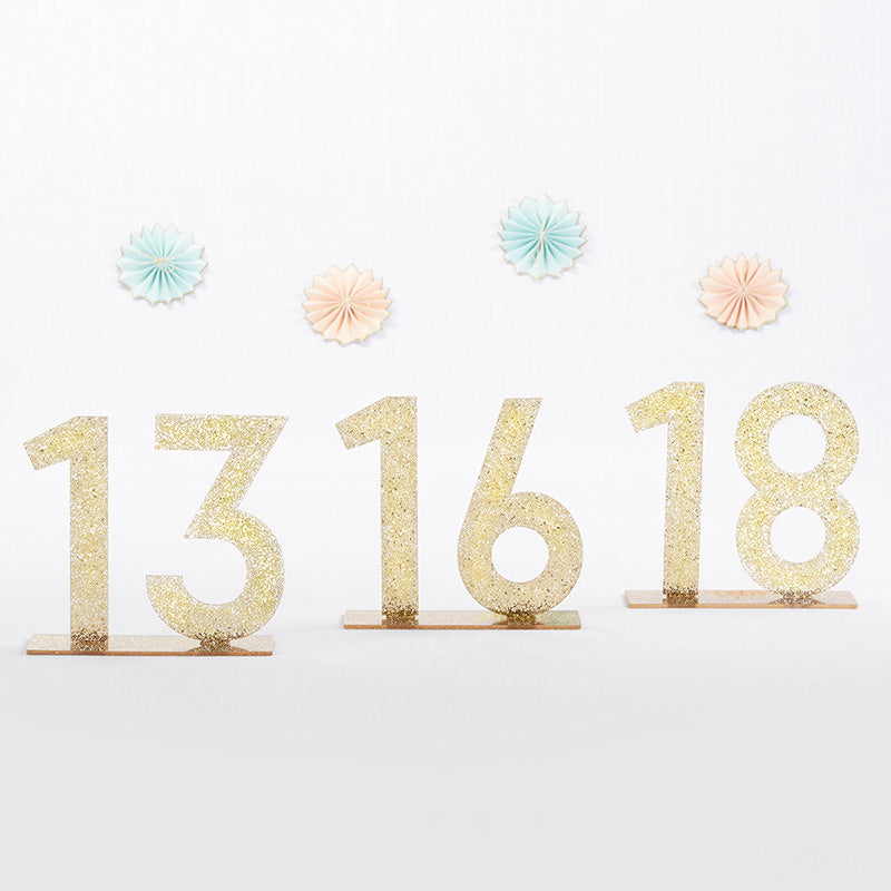 Gold Glitter Acrylic Table Numbers (13-18)