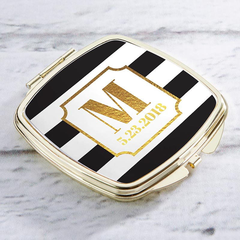 Personalized Gold Compact - Classic Wedding