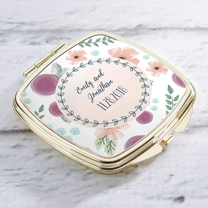 Personalized Gold Compact - Bridal Floral