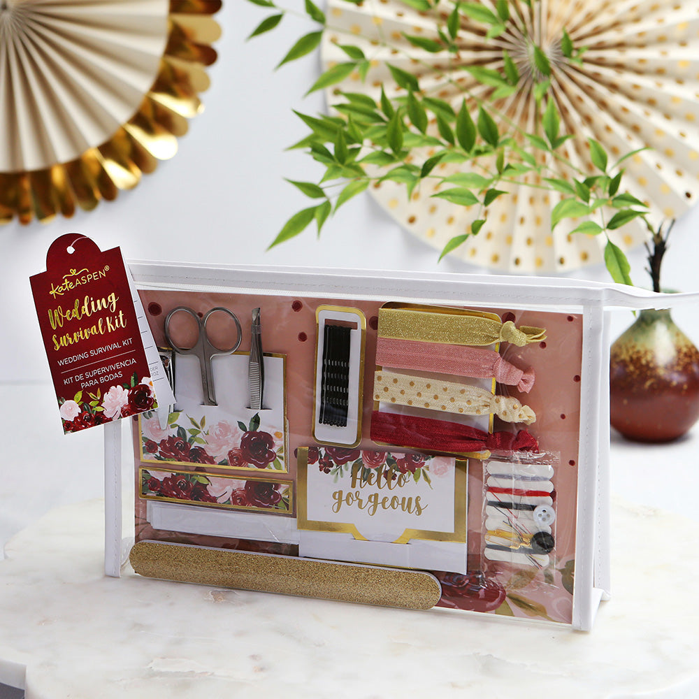 Load image into Gallery viewer, Burgundy Blush Floral Wedding Survival Kit