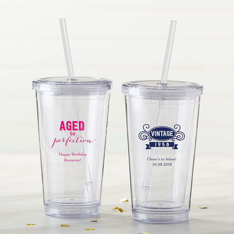 Personalized Printed Acrylic Tumbler - Adult Birthday