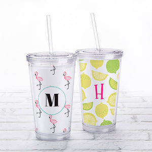 Acrylic Tumbler with Personalized Insert - Monogram
