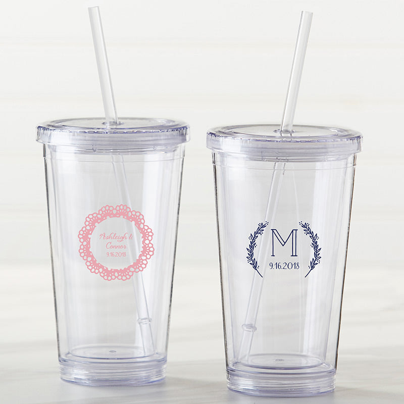 Personalized Printed Acrylic Tumbler - Rustic Charm Wedding