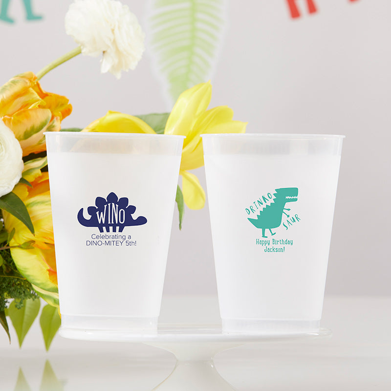 Personalized 10 oz. Frosted Flex Cup - Dino Party