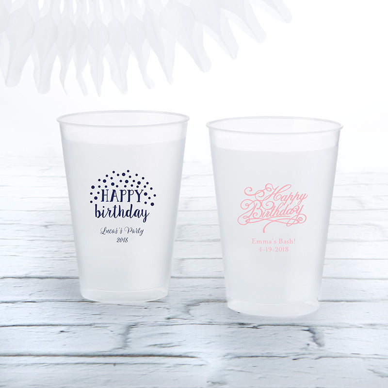 Personalized 10 oz. Frosted Flex Cup - Happy Birthday