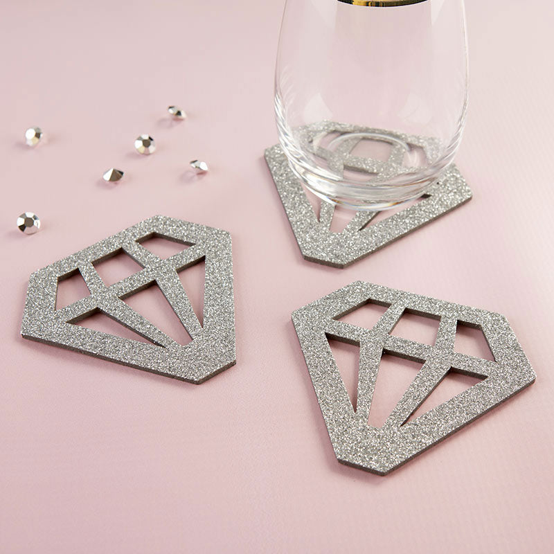 Silver Glitter Diamond Shaped Coaster (Set of 4)