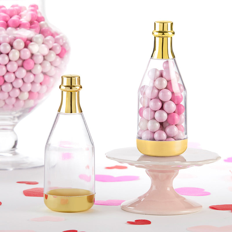 Gold Metallic Champagne Bottle Favor Container - DIY (Set of 12)