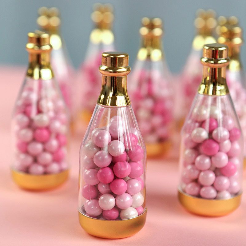 Load image into Gallery viewer, Gold Metallic Champagne Bottle Favor Container - DIY (Set of 12)
