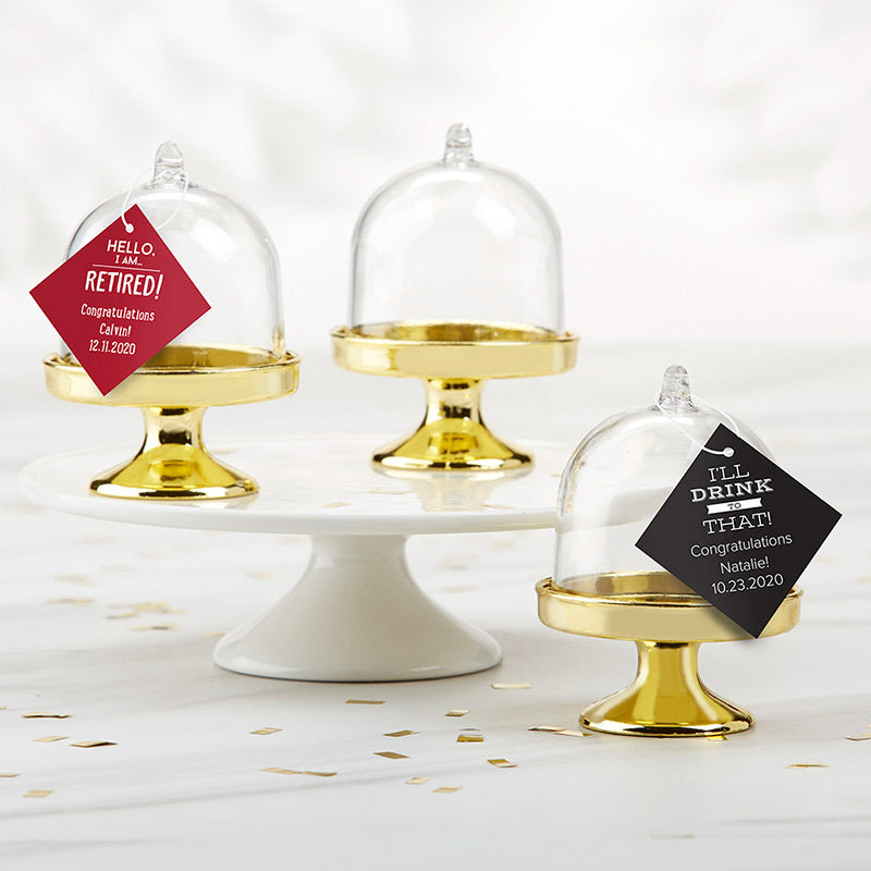 Personalized Small Bell Jar with Gold Base - Celebration (Set of 12)