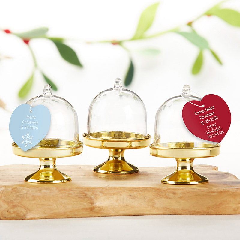Personalized Small Bell Jar with Gold Base - Holiday (Set of 12)