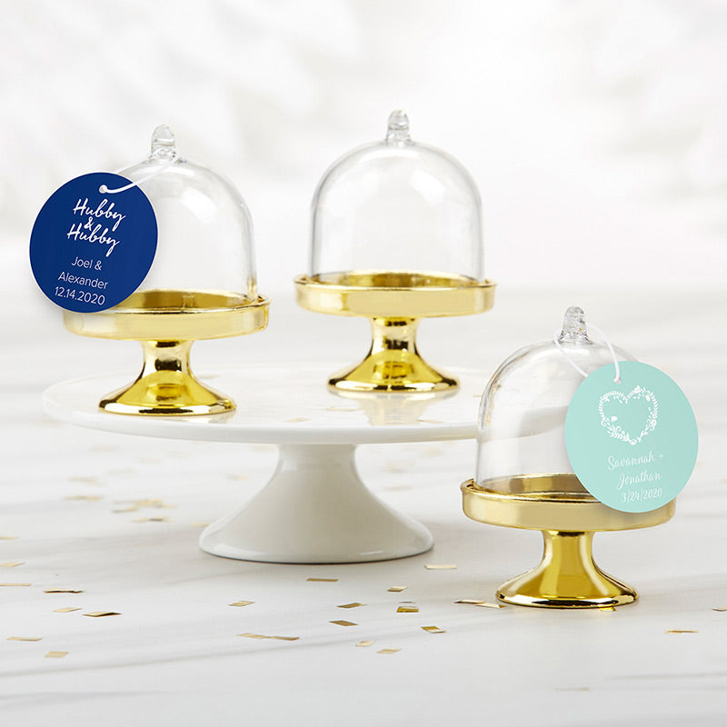 Personalized Small Bell Jar with Gold Base - Wedding (Set of 12)
