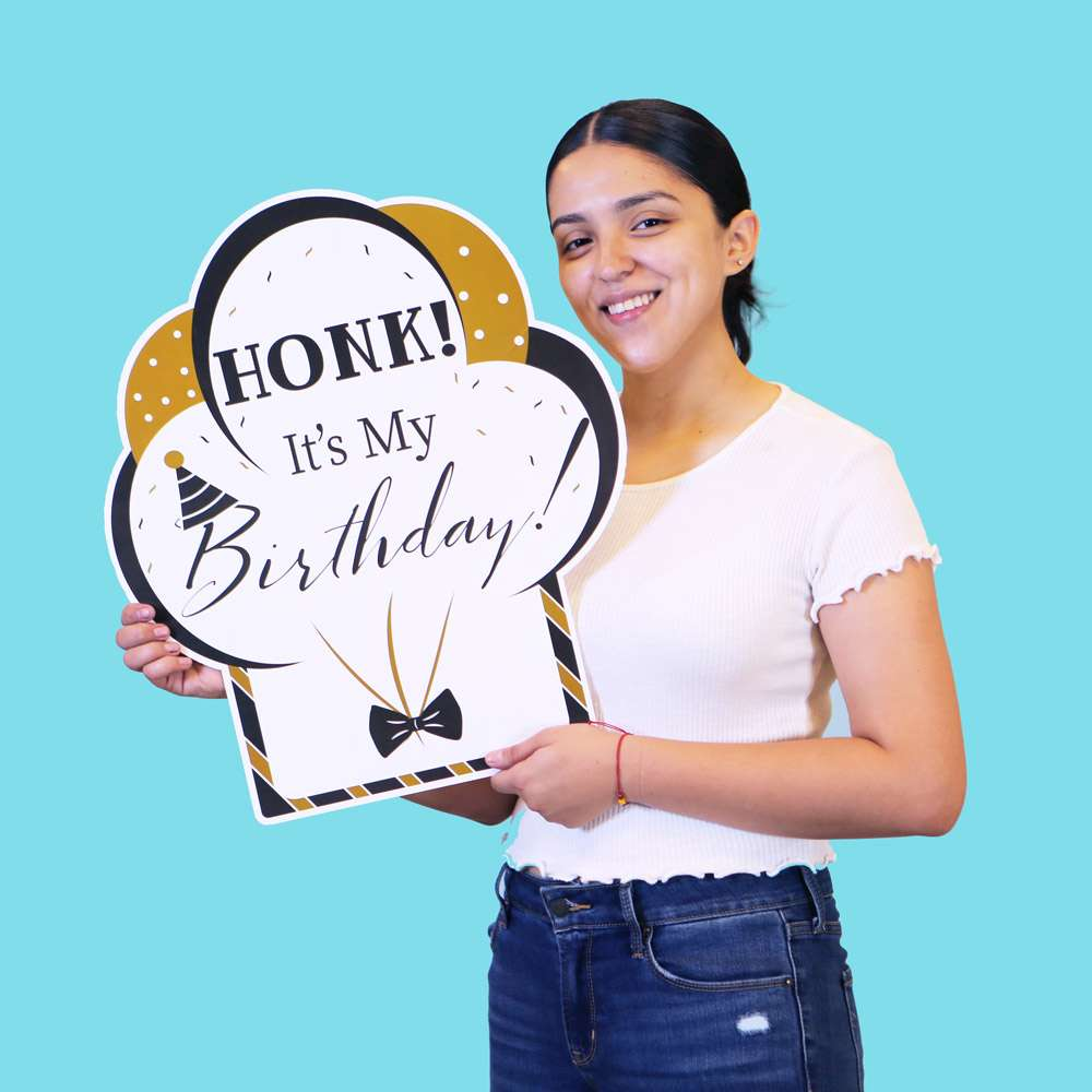 Load image into Gallery viewer, Birthday Yard Sign - Black & Gold (Set of 8)