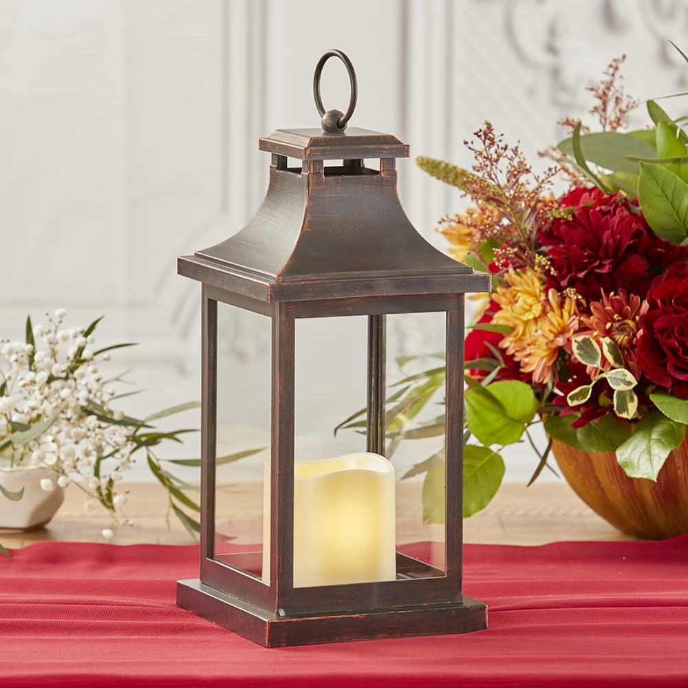 LED Vintage Decorative Copper Lantern - Hampton