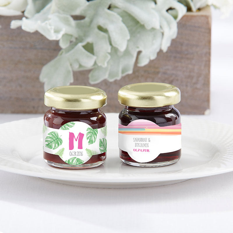 Personalized Strawberry Jam - Pineapples & Palms (Set of 12)