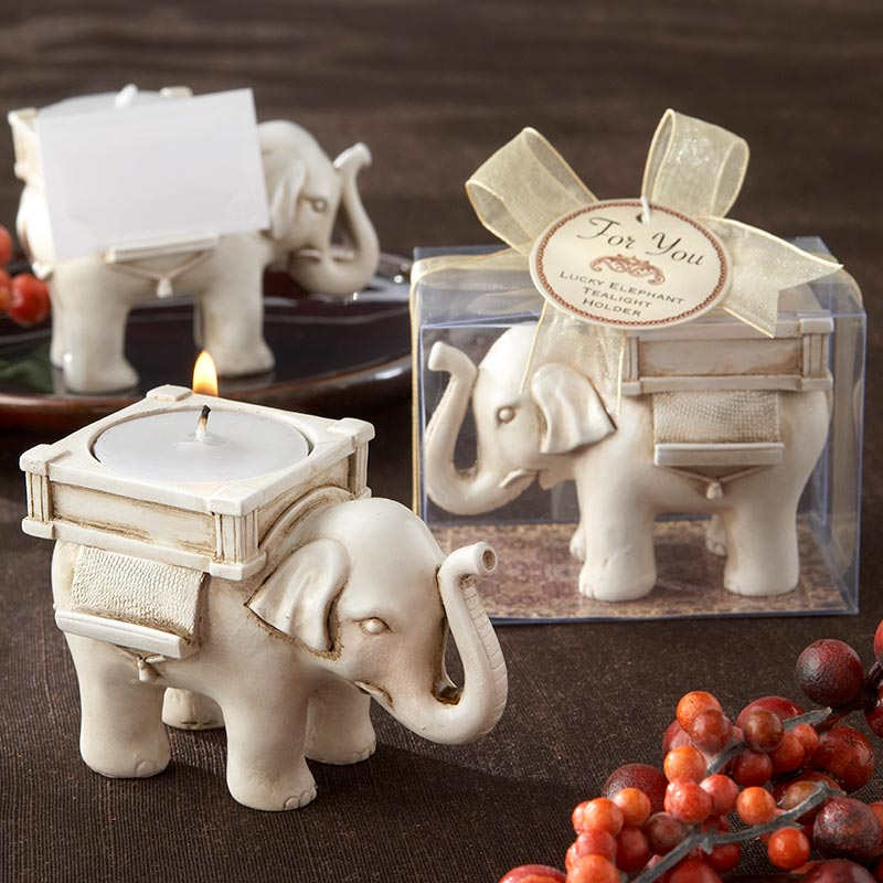 Lucky Elephant Antique Ivory - Finish Tea Light Holder