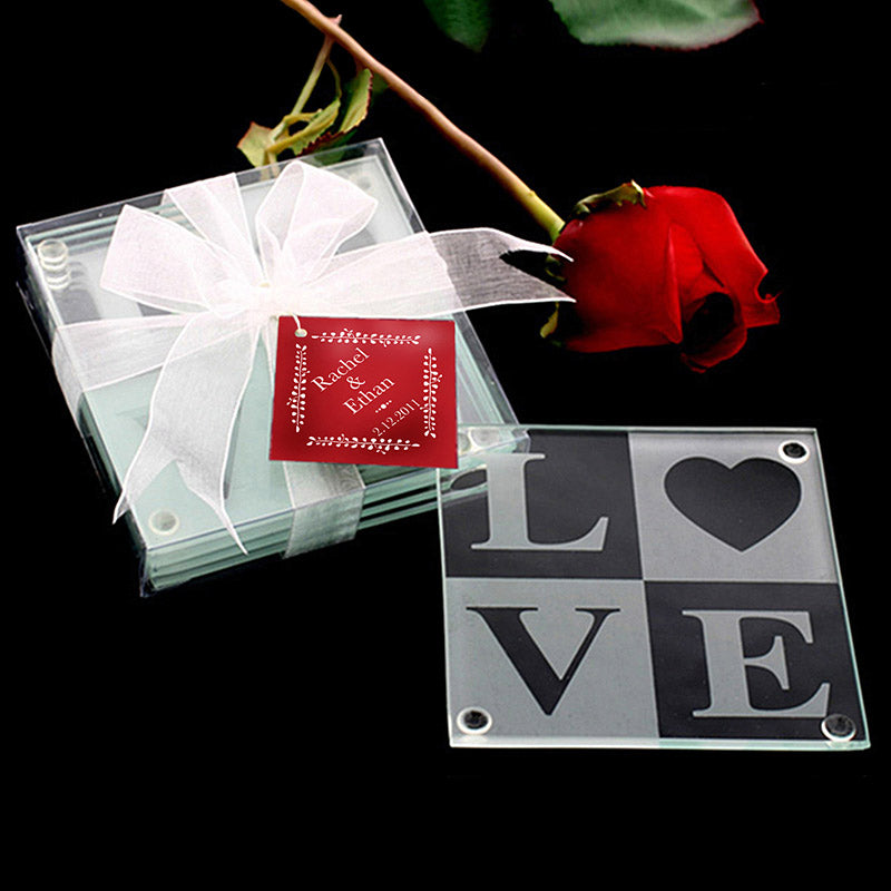 LOVE Glass Coaster Gift Set with Ribbon & Thank You Tag (Set of 4)