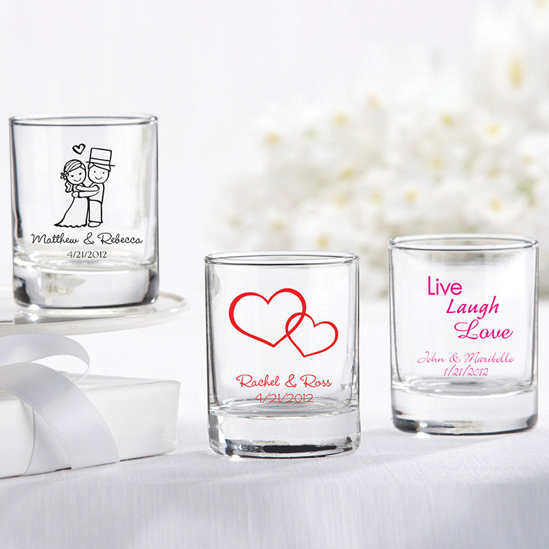 Personalized 2 oz. Shot Glass/Votive Holder - Wedding