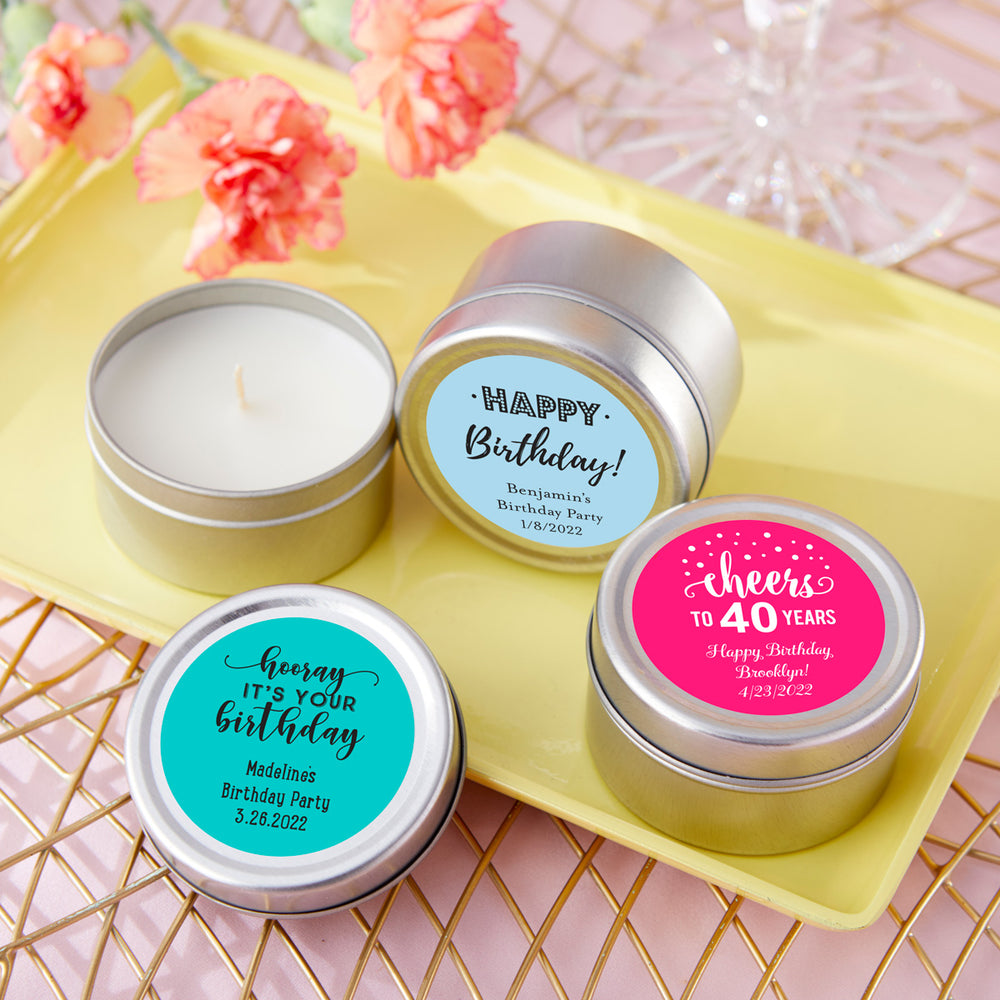 Personalized Travel Candle Tin - Birthday