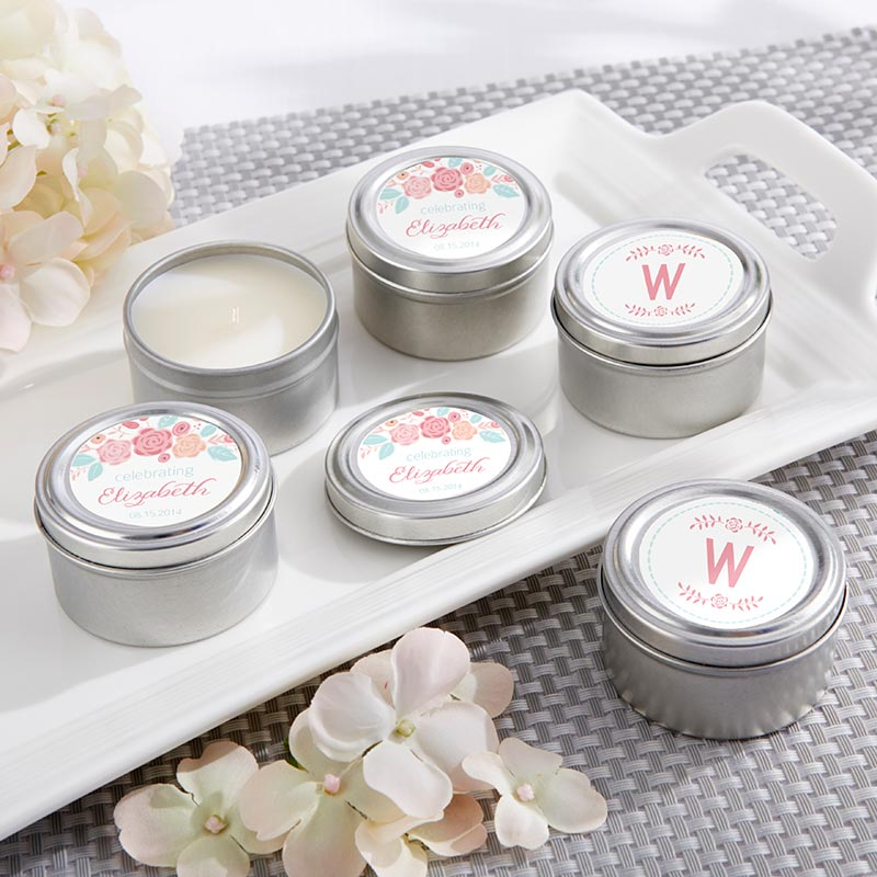 Personalized Travel Candle - Kate's Rustic Bridal Shower Collection