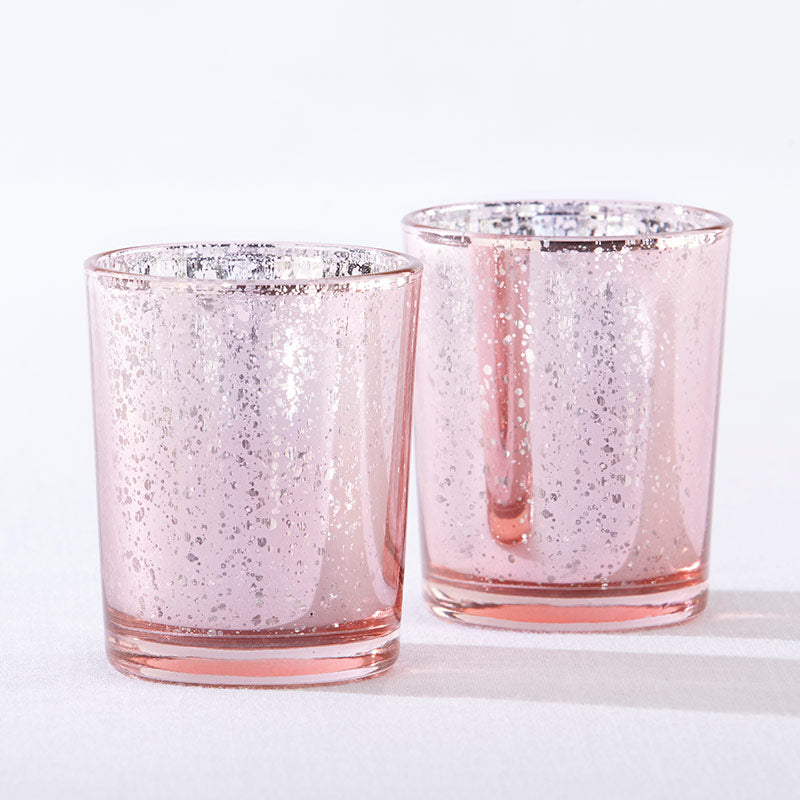 Light Pink Mercury Glass Tea Light Holder (Set of 4)