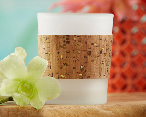Load image into Gallery viewer, Tropical Chic Gold Glitz Cork Wrapped Tea Light Holder (Set of 4)