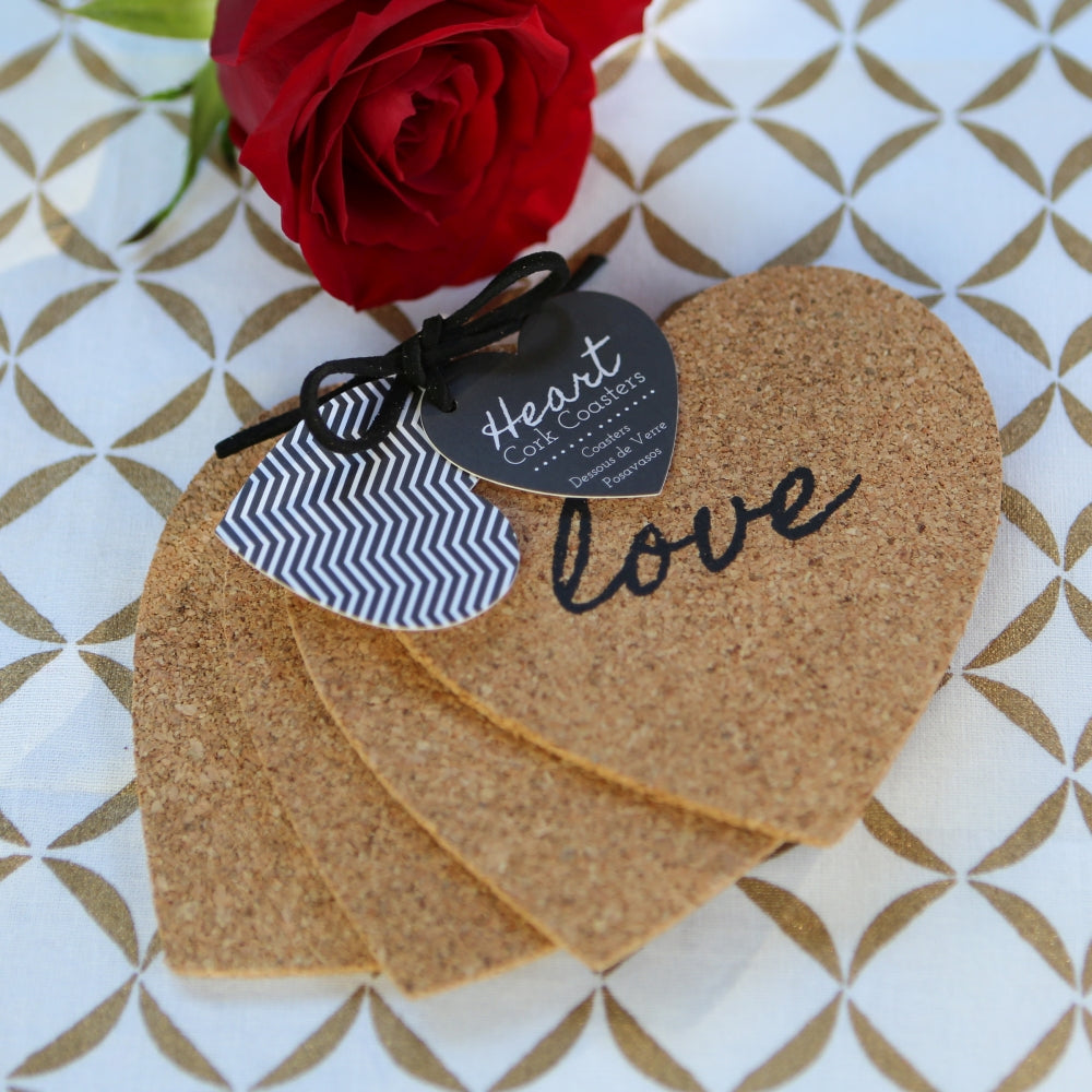 Load image into Gallery viewer, Heart Cork Coaster (Set of 4)