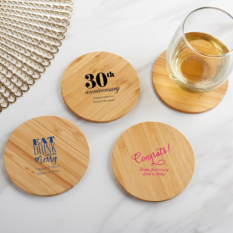 Personalized Wood Round Coaster - Anniversary (Set of 12)
