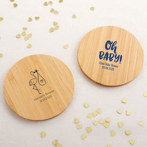 Personalized Wood Round Coaster - Baby Shower (Set of 12)