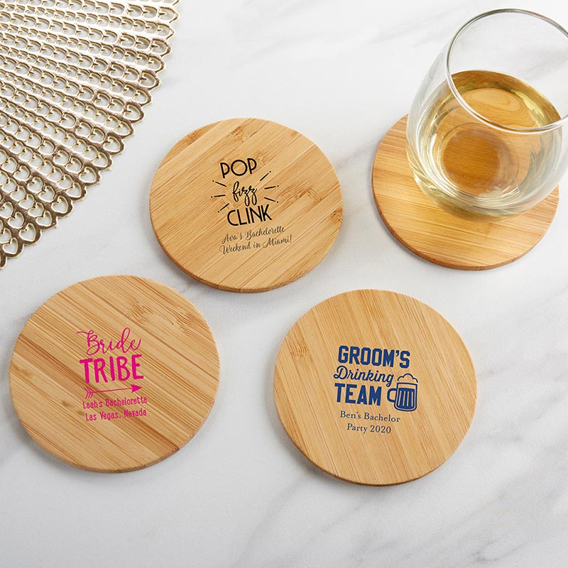 Personalized Wood Round Coaster - Bachelor & Bachelorette (Set of 12)