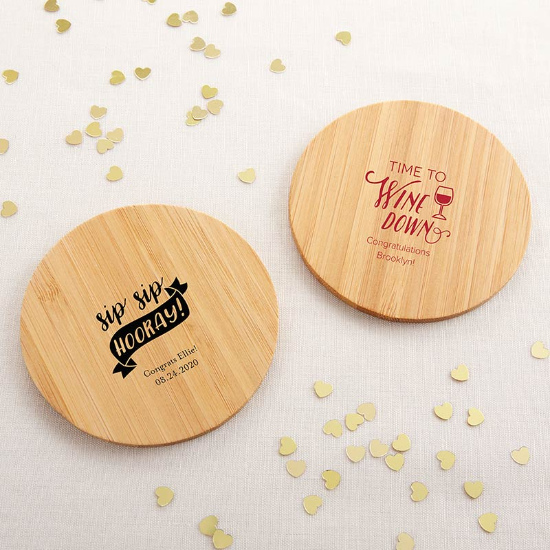 Personalized Wood Round Coaster - Celebration (Set of 12)