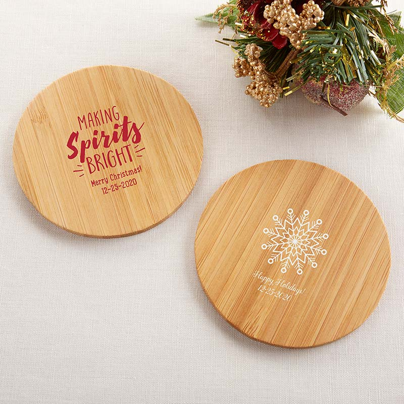 Personalized Wood Round Coaster - Holiday (Set of 12)