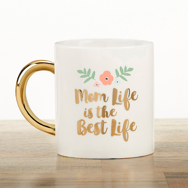 Mom Life 16 oz. Mug with Gold Foil Handle