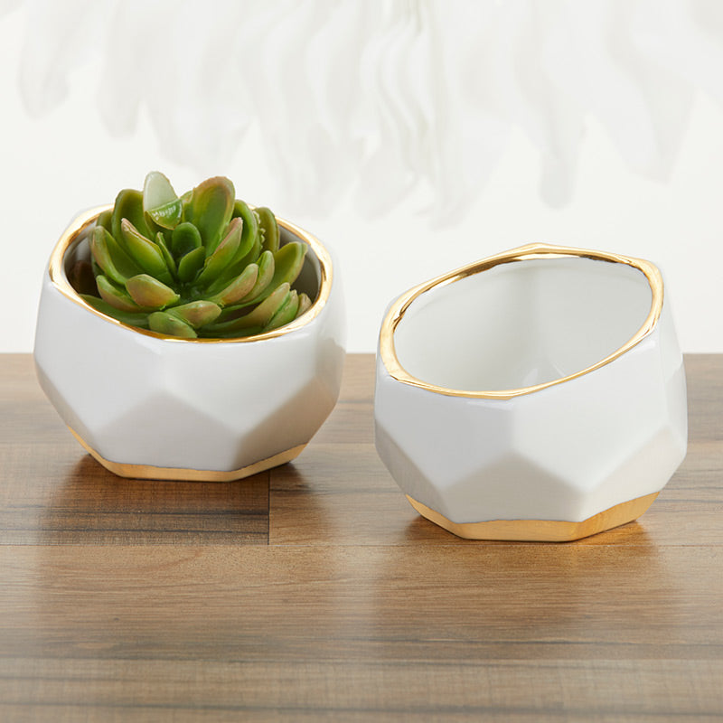 Load image into Gallery viewer, Geometric Ceramic Planter (Set of 2)