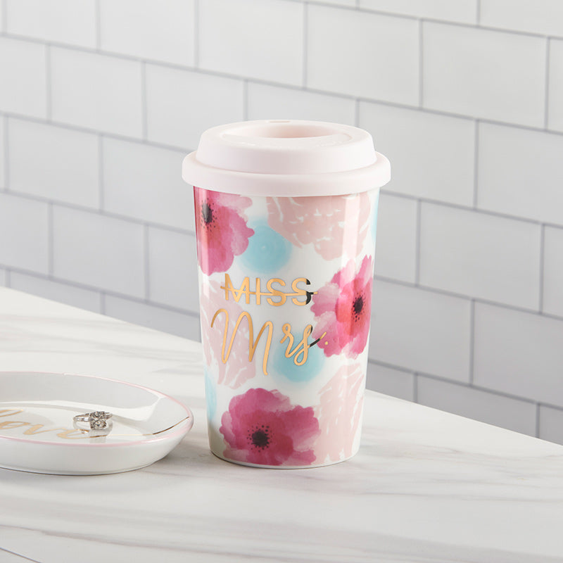 Miss to Mrs. 15 oz. Ceramic Travel Mug