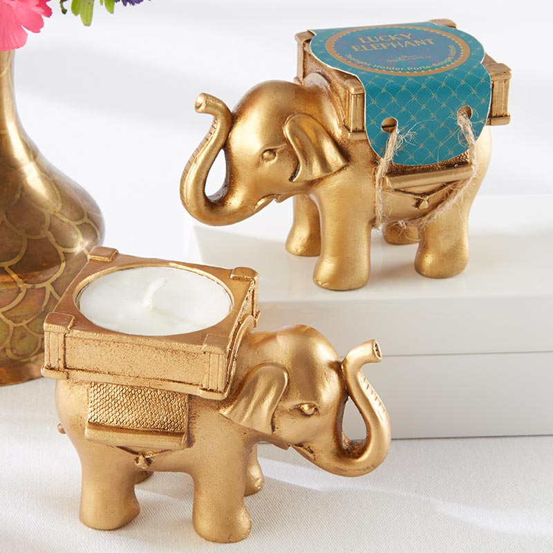 Lucky Elephant Golden Tea Light Holder