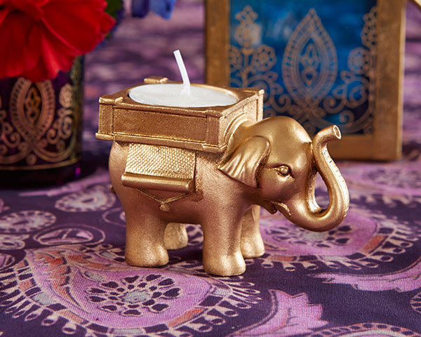 Load image into Gallery viewer, Lucky Elephant Golden Tea Light Holder